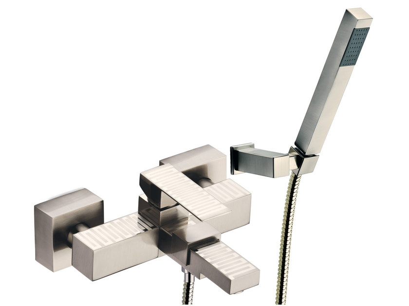 Wall-mounted single handle bathtub mixer with hand shower SKYLINE DEKORA | Bathtub mixer by Daniel Rubinetterie