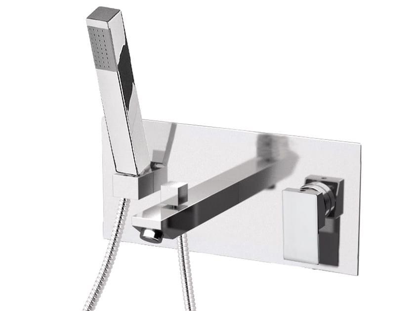 Wall-mounted chromed brass bathtub mixer with hand shower SKYLINE | Bathtub mixer by Daniel Rubinetterie