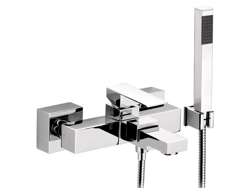 Wall-mounted bathtub mixer with hand shower SKYLINE | Bathtub mixer with hand shower by Daniel Rubinetterie