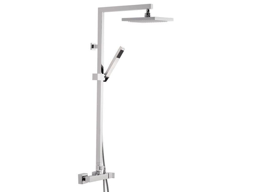 Wall-mounted chromed brass shower panel with hand shower SKYLINE | Shower panel by Daniel Rubinetterie