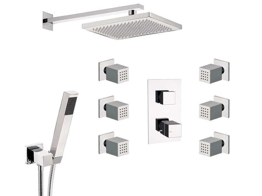 Thermostatic shower mixer with overhead shower SKYLINE   Thermostatic shower mixer by Daniel Rubinetterie