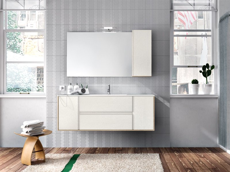 Wall-mounted oak vanity unit with mirror CLOE 26 by Edoné by Agorà Group