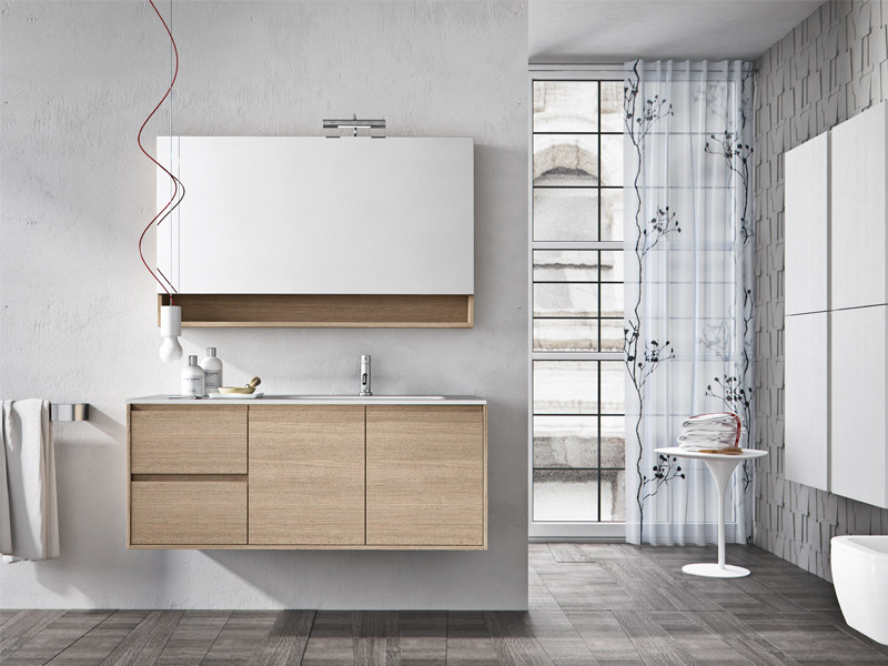 Wall-mounted oak vanity unit with mirror CLOE 30 by Edoné by Agorà Group
