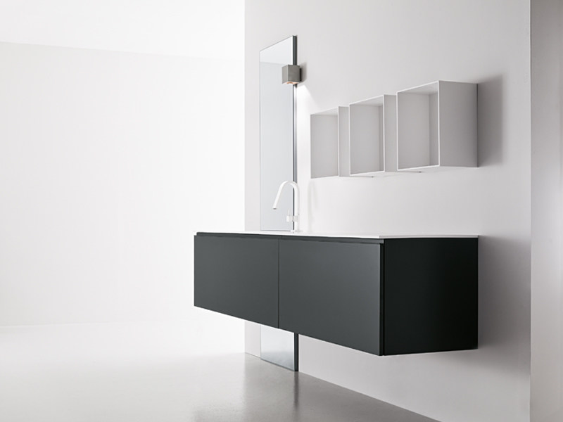 Lacquered wall-mounted vanity unit with mirror GIUNONE 251 by Edoné by Agorà Group