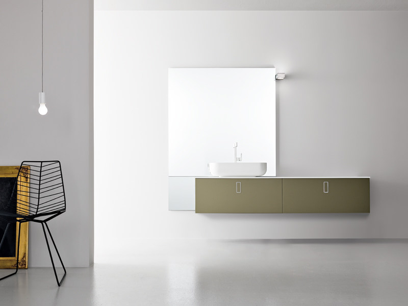 Lacquered wall-mounted vanity unit with mirror GIUNONE 255 by Edoné by Agorà Group