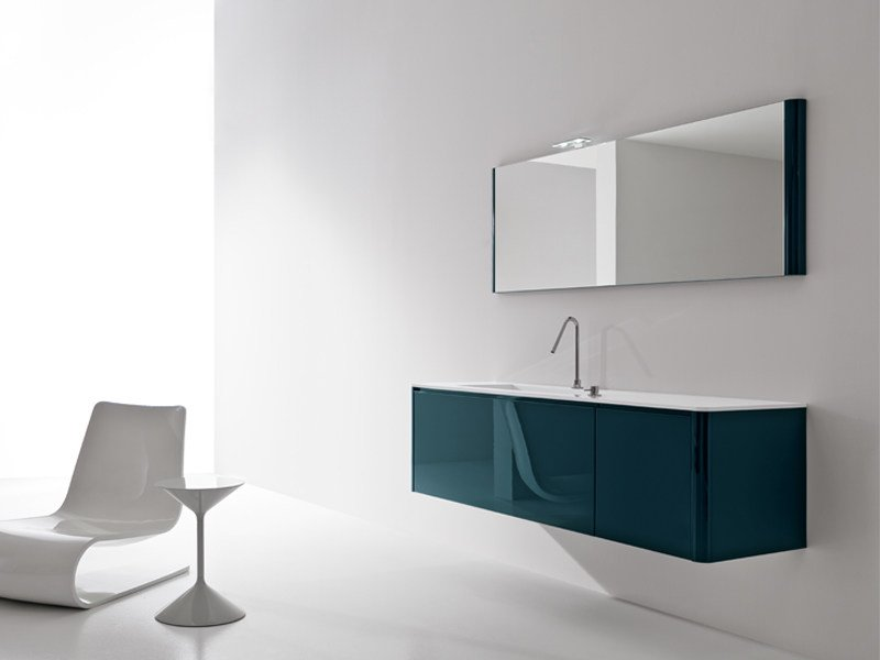 Lacquered wall-mounted vanity unit with mirror GIUNONE 270 by Edoné by Agorà Group