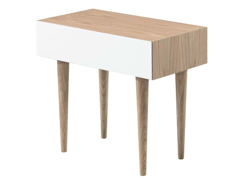 Wood veneer bedside table with drawers MADOX by AZEA
