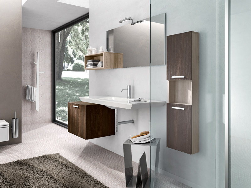 Wall-mounted oak vanity unit with cabinets KYROS 05 by Edoné by Agorà Group