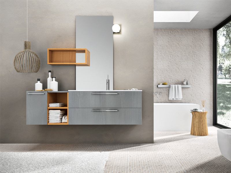 Lacquered wall-mounted vanity unit with mirror KYROS 07 by Edoné by Agorà Group
