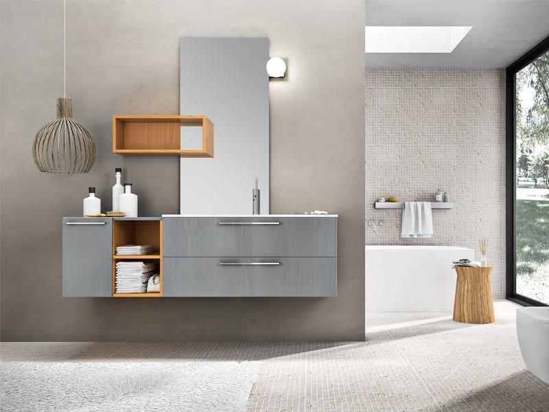 mueble bajo lavabo lacado suspendido con espejo kyros 07