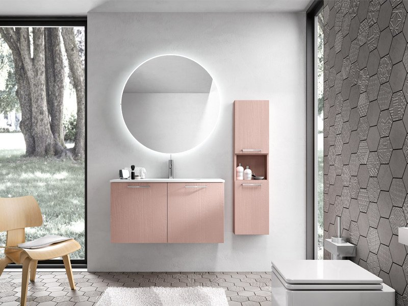 Single wall-mounted vanity unit with cabinets KYROS 13 by Edoné by Agorà Group
