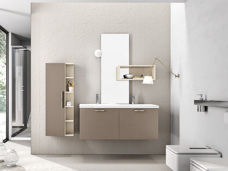 Lacquered wall-mounted vanity unit with cabinets KYROS 04 by Edoné by Agorà Group
