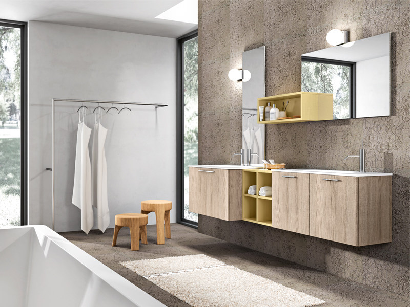 Double wall-mounted oak vanity unit KYROS 01 by Edoné by Agorà Group
