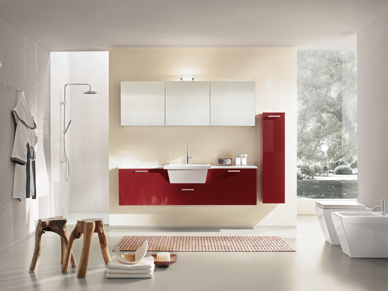 Lacquered wall-mounted vanity unit with mirror MINERVA 323 by Edoné by Agorà Group