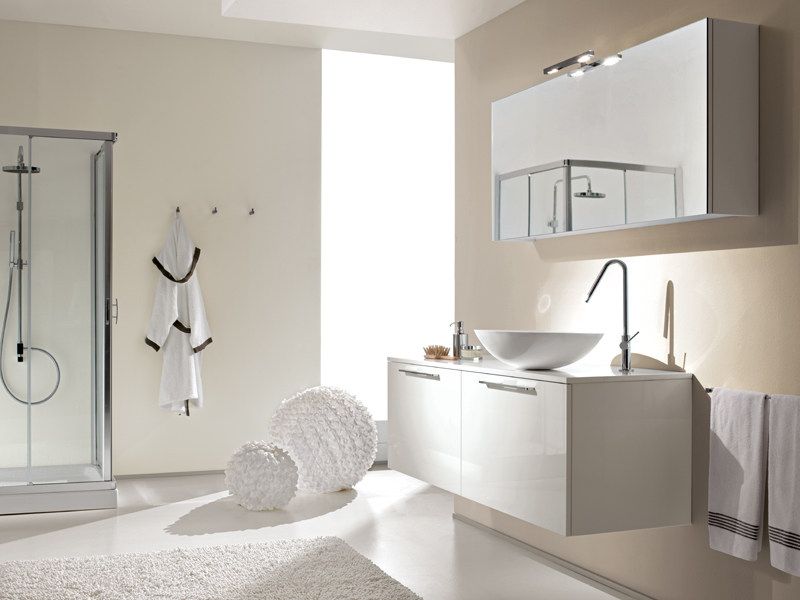 Lacquered wall-mounted vanity unit with mirror MINERVA 316 by Edoné by Agorà Group