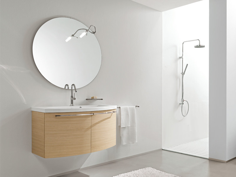 Wall-mounted oak vanity unit with mirror MINERVA 306 by Edoné by Agorà Group