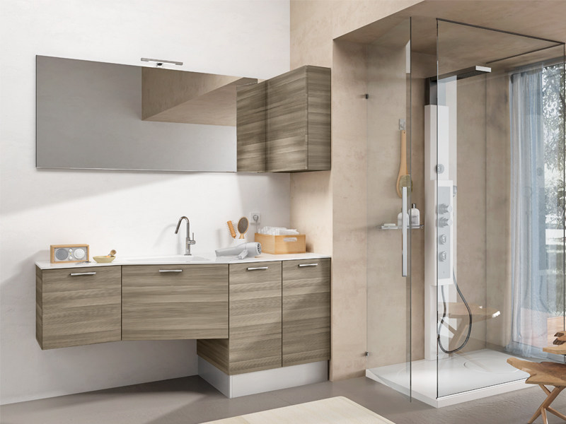 Wall-mounted vanity unit with mirror MINERVA 329 by Edoné by Agorà Group