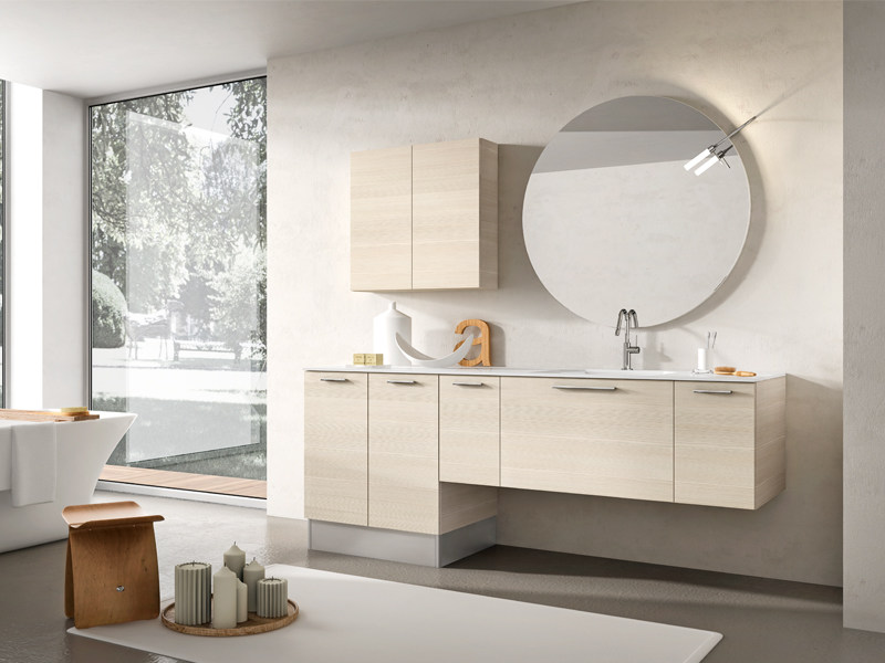 Wall-mounted vanity unit with mirror MINERVA 331 by Edoné by Agorà Group