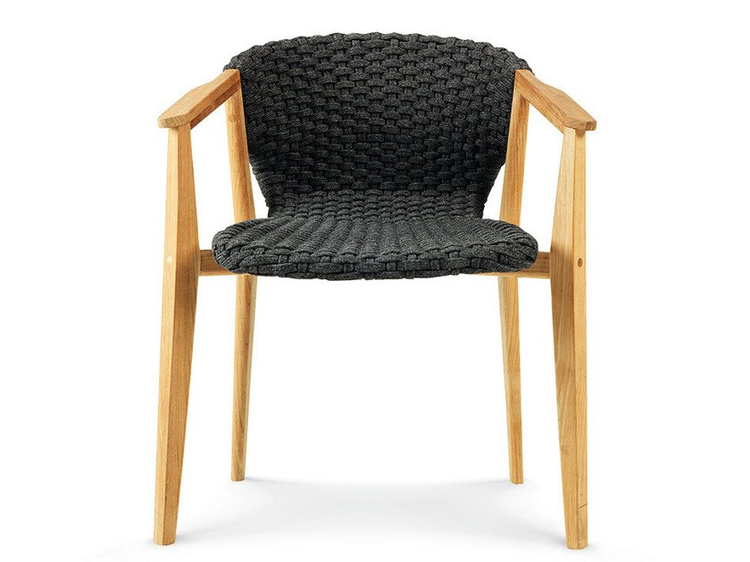Synthetic fabric garden chair with armrests KNIT | Chair with armrests by Ethimo