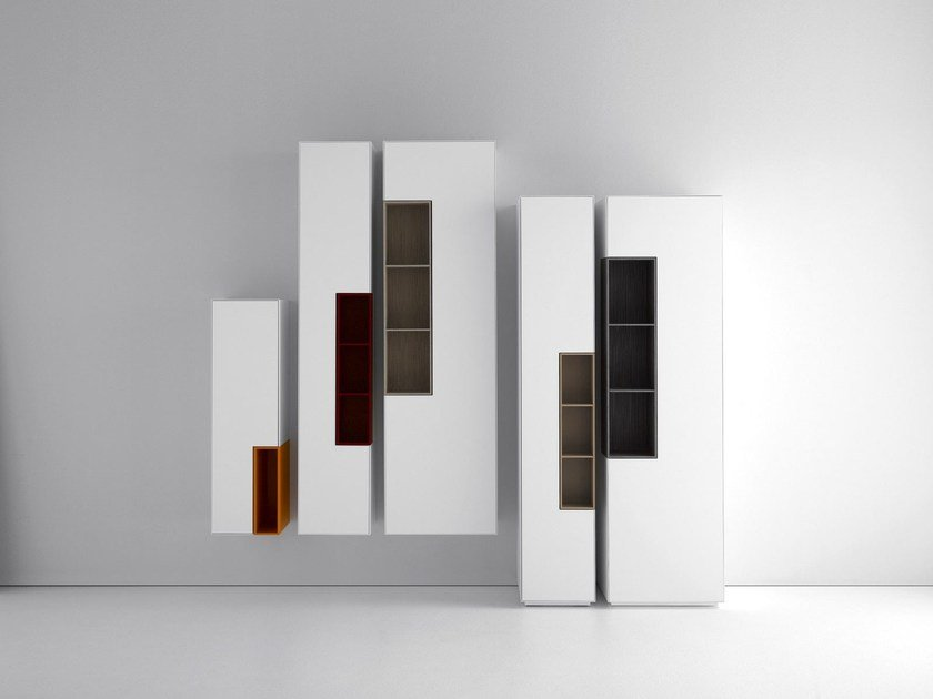 Lacquered MDF wall cabinet with door INMOTION | Wall cabinet by MDF Italia