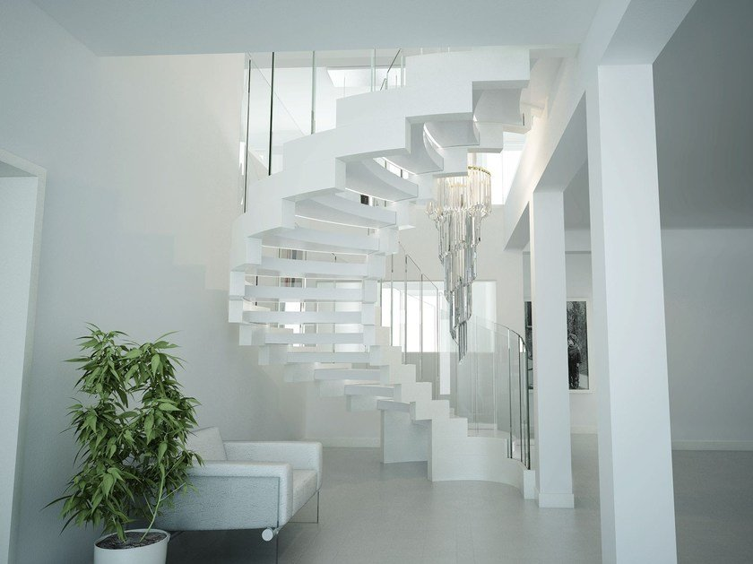 Self supporting Corian® Open staircase with double bearing structure COBRA CORIAN by Siller Treppen