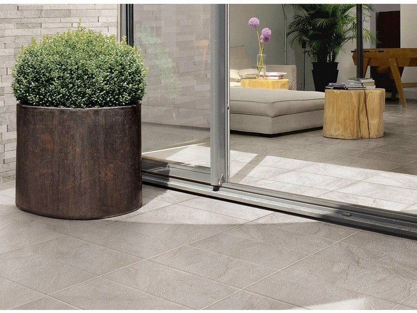 Porcelain stoneware outdoor floor tiles with stone effect STONETRACK by Supergres