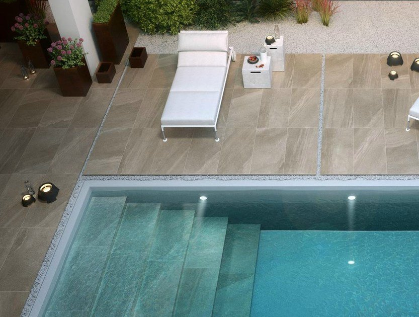 Outdoor floor tiles with stone effect LAKE STONE T20 by Supergres