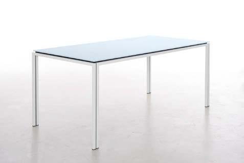 Tavolo rettangolare in acciaio inox e cristallo zoe tavolo in