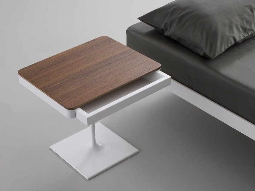 Steel and wood bedside table with drawers PLANE   Steel and wood bedside table by iCarraro