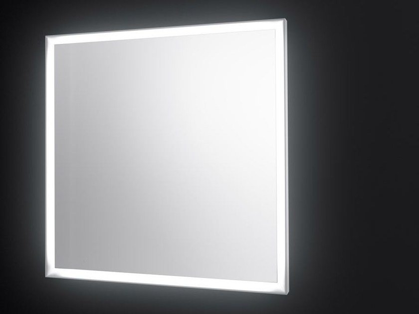 Square wall-mounted mirror with integrated lighting SP14 | Square mirror by Boffi