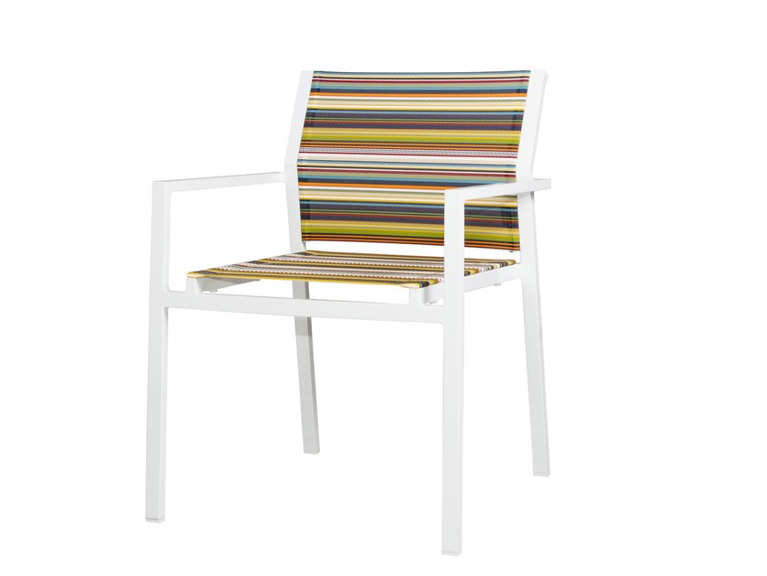 Stackable aluminium chair with armrests STRIPE Dining Stackable Armchair by MAMAGREEN