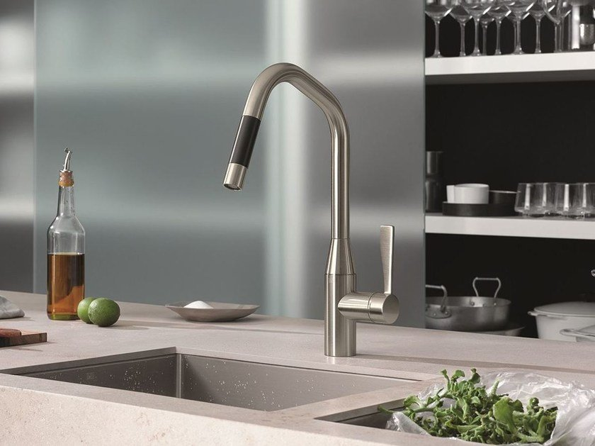 1 hole kitchen mixer tap with pull out spray SYNC by Dornbracht