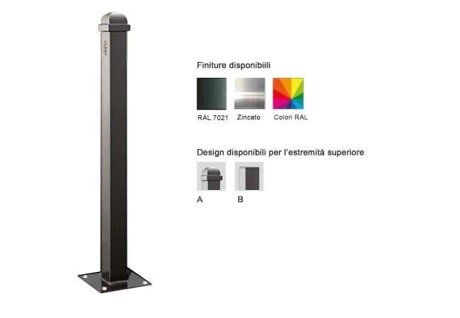 Steel bollard post with base plate MARTE 70X70 MM   Steel bollard by Lazzari