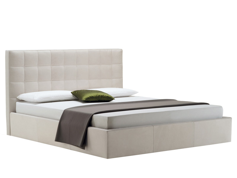 Upholstered bed with high headboard OVERBOX by Zanotta