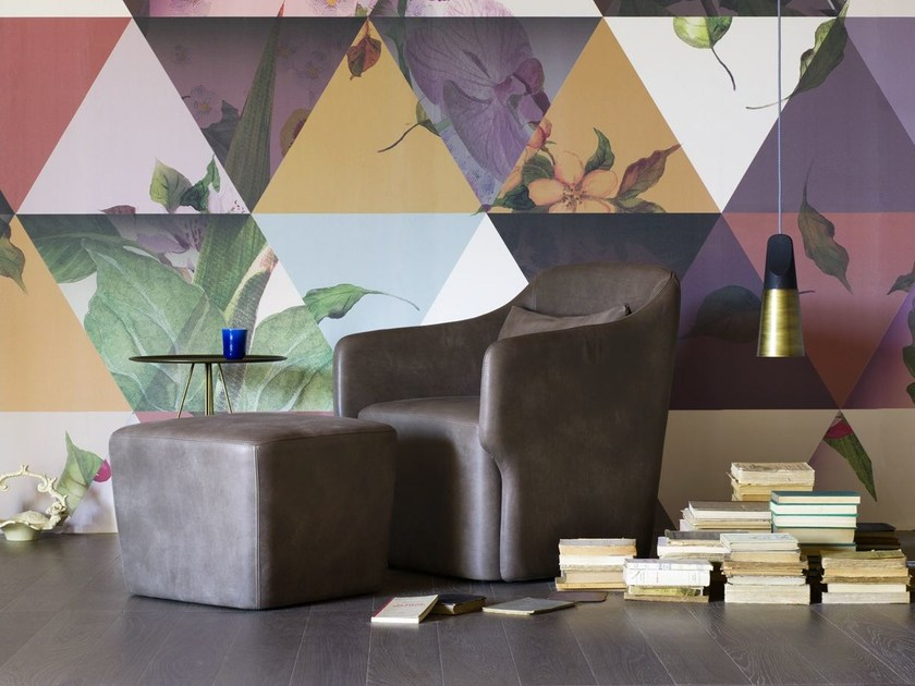Upholstered leather easy chair ALI LOUNGE by Miniforms