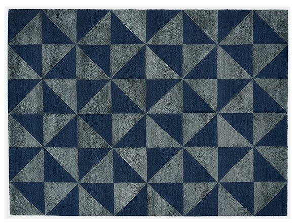 Rectangular rug with optical pattern REFLECTIONS by Deirdre Dyson