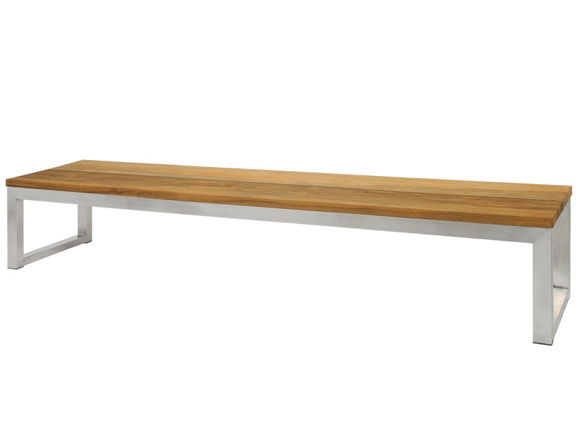 Stainless steel and wood garden bench OKO Bench 260 cm by MAMAGREEN