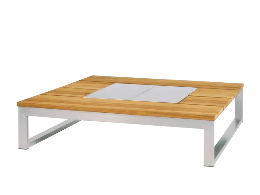 Stainless steel and wood coffee table with ice bucket OKO Coffee Table 110x110 cm w ice bin by MAMAGREEN