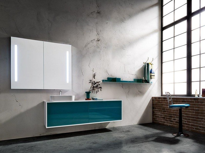 Wall-mounted vanity unit with mirror MINIMAL PLAY 32/35 by Cerasa