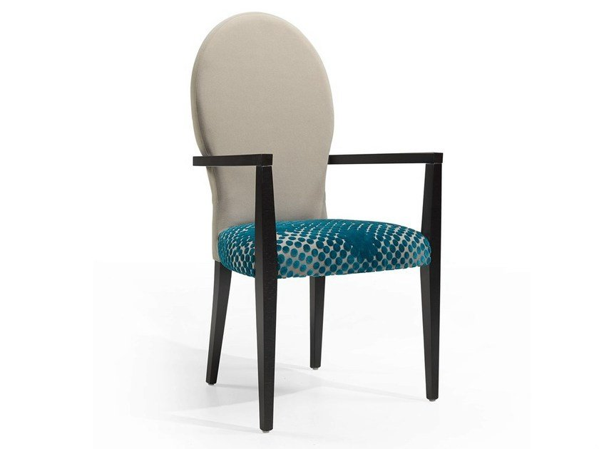 Upholstered chair with armrests ICE OVAL DAN CB by Fenabel