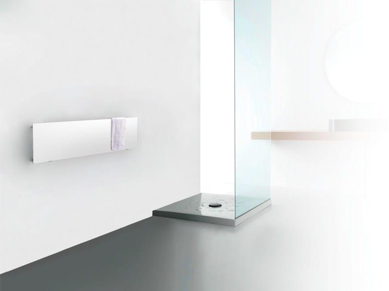 Horizontal brushed-finish wall-mounted decorative radiator STEEL STONE by FOURSTEEL