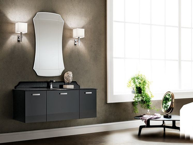 Lacquered single wall-mounted vanity unit MINIMAL PLAY 54/57 by Cerasa