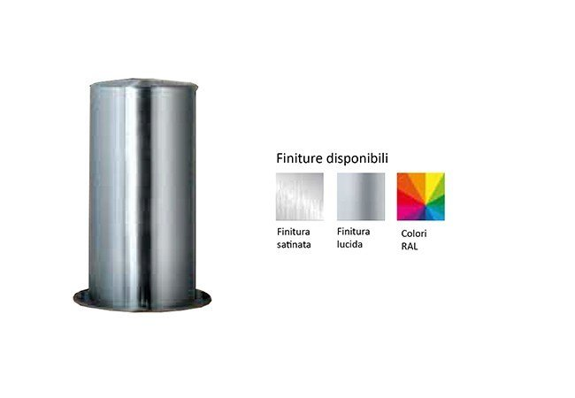 Cylindrical fixed steel bollard with base plate SATURNO Ø 306 MM by Lazzari