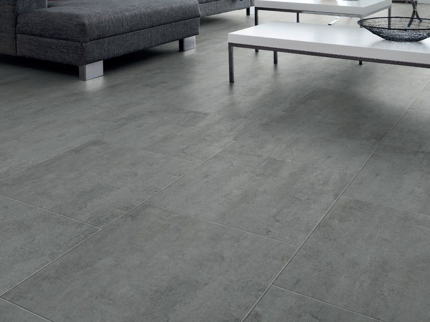 Vinyl Flooring With Concrete Effect Dark Grey Tile Design Collection By Pergo