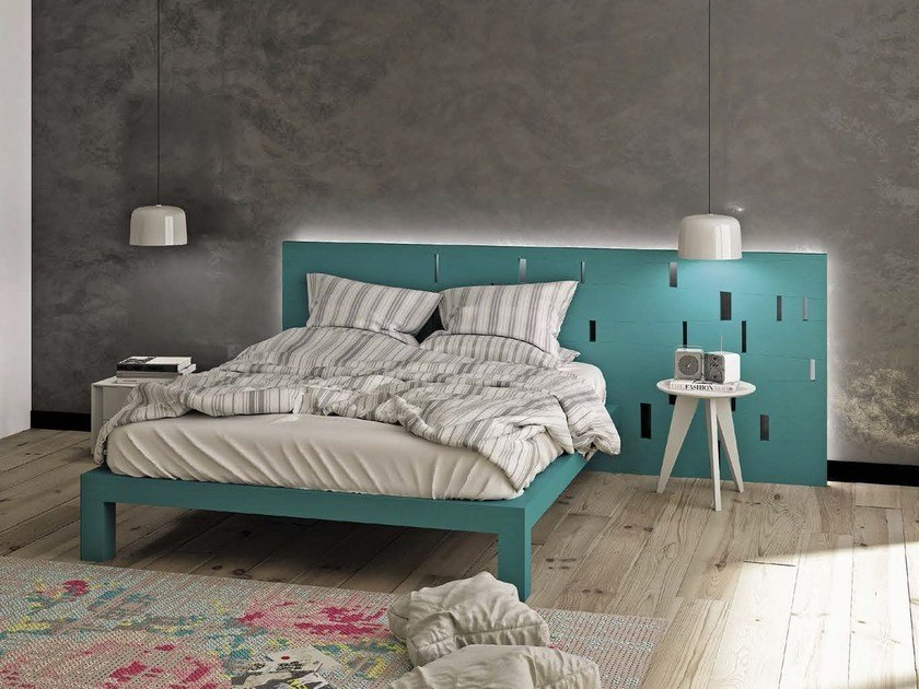 Wooden double bed DALÌ by Domus Arte