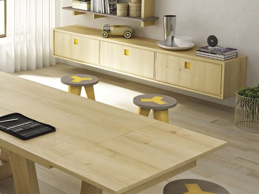 Suspended wooden sideboard SUNNY | Suspended sideboard by Domus Arte