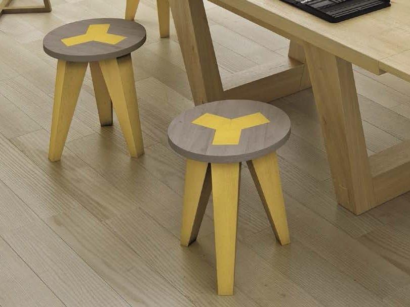 Oak stool / coffee table CAREJ by Domus Arte