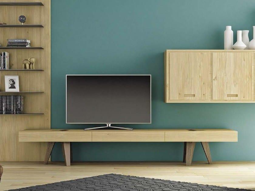 Low wooden TV cabinet HOP! by Domus Arte