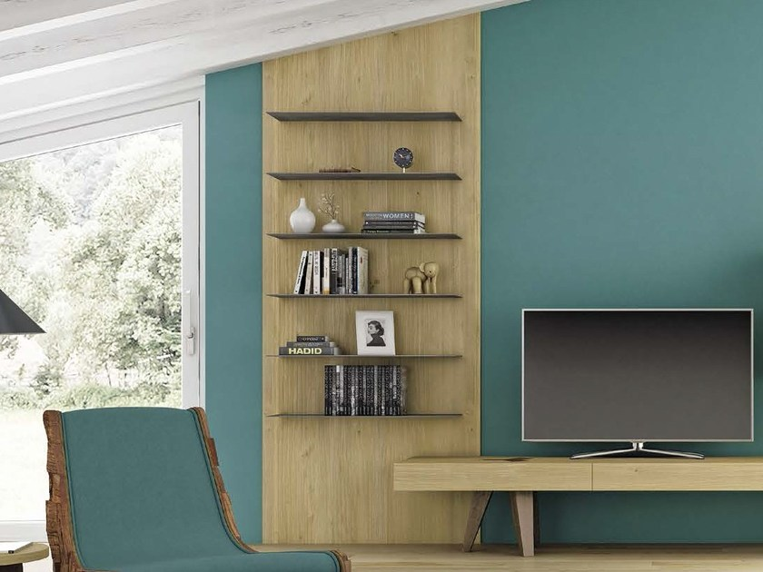 Open steel and wood bookcase UNICA by Domus Arte