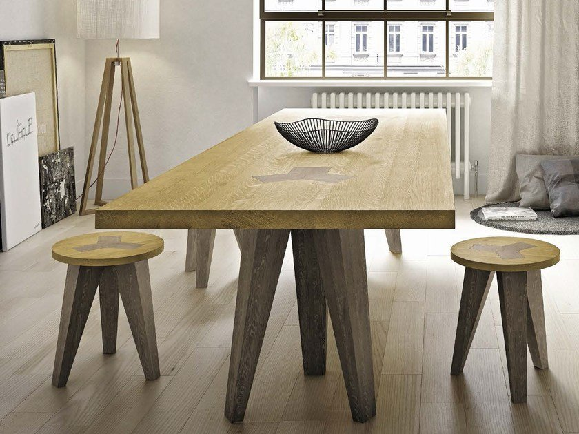 Rectangular solid wood table NETTUNO by Domus Arte
